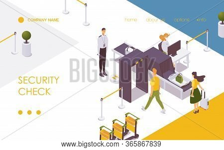 Security Check At Airport Checkpoint Landing Page Or Banner Template Isometric With Guards And Passe