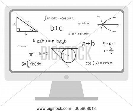 Online Training In Geometry Algebra On A White Background. Vector Illustration