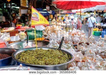 Bangkok-thailand Oct 8 2018: Vegetarian Food In The Market With Vegetarian Festival. Vegetarian Food