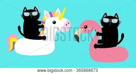 Black Cat Floating On White Flamingo Unicorn Pool Float Water Circle Icon Set. Swimming Pool Water.
