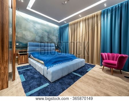 New interior bedroom with blue colors