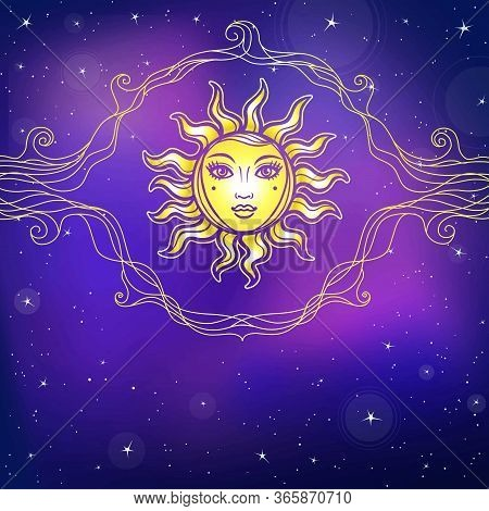 Mystical Drawing: The Sun With A Human Face, Openwork Vignette. Background - The Night Star Sky. Eso