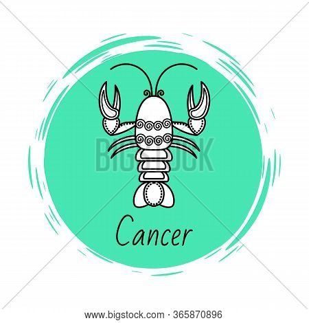 Cancer Sign Of Horoscope With Sketch Depiction Of Lobster Or Crab. Astrological Symbol In Circle. Ju
