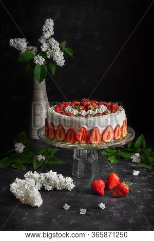 Strawberry Cake For A Festive Event Or Just A Treat For The Spring