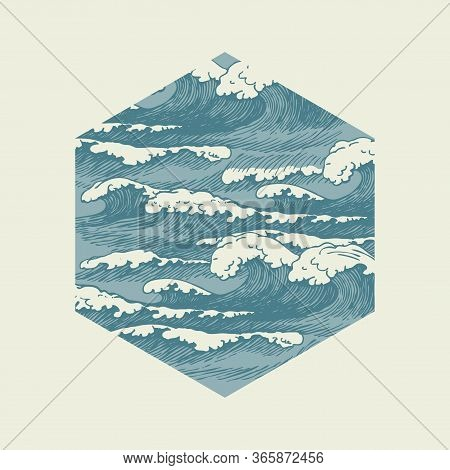 Vector Banner Of Hexagonal Shape In Retro Style With Hand-drawn Waves. Decorative Illustration Of Th