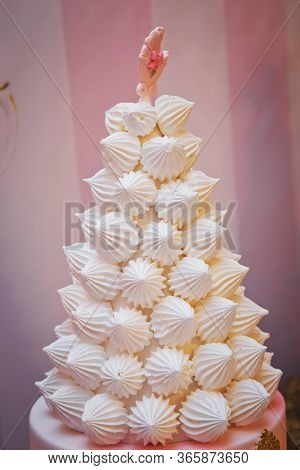 Meringues Holiday Tree . Christmas Tree Dessert Treat Made With Pink And White Meringues .