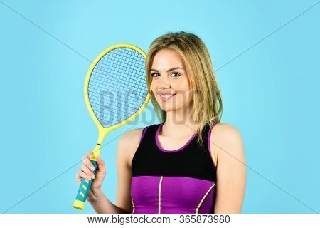 Squash Game. Woman Athlete Play Tennis Court. Scoring System. Racquet Sports. Tennis Club. Smiling A