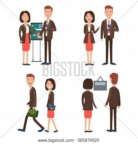 Business Team At Work Character Set. Teamwork, Colleague, Office Staff, Presentation. Can Be Used Fo