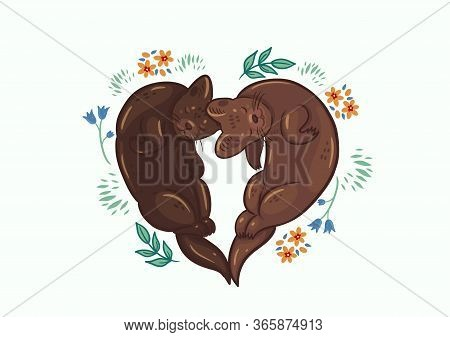 Greeting Card With Cute Sables. Heart Shape. Vector Image