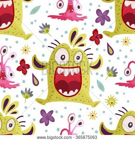 Cute Cartoon Monster Vector Seamless Pattern In A Flat Style. Funny Kid Alien Character Background.