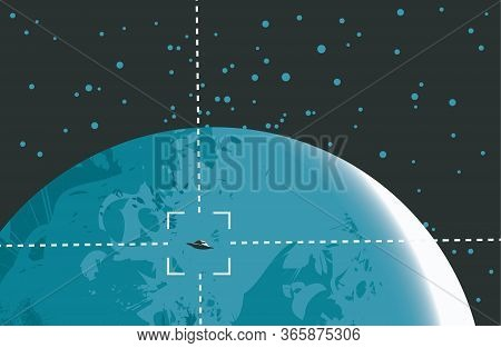 Vector Banner On The Theme Of Extraterrestrial Civilizations. Graphic Illustration Of A Ufo On The B