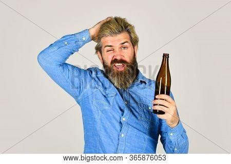 Hangover Syndrome. Drunk Man. Alcoholic Guy. Alcoholism Problem. Refreshing Alcoholic Drink. Alcohol