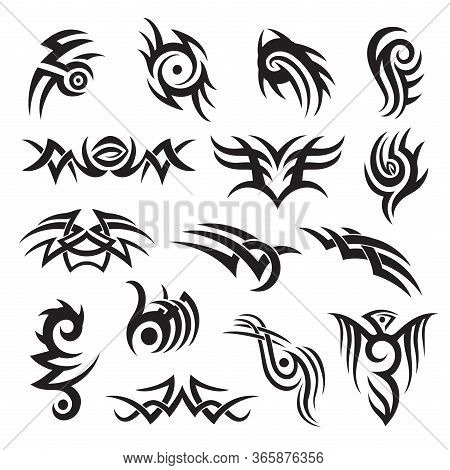 Set Of Tribal Style Tattoo Design, Arm Band, Adornment, Decoration. Folk Motif Vector Collection.