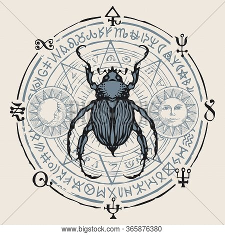 Vector Hand-drawn Banner With A Beetle, Sun And Moon On The Background Of Unreadable Scribbles Writt