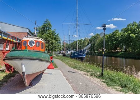 Haren, Germany - May 09, 2020: Lifeboat At The Maritime Museum In Haren, Germany