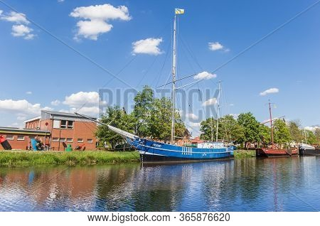 Haren, Germany - May 09, 2020: Blue Sailing Ship At The Canal In Haren, Germany