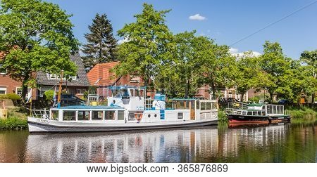 Haren, Germany - May 09, 2020: White Motorboat At The Central Canal Of Haren, Germany