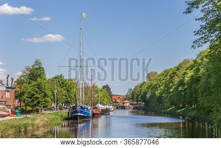 Haren, Germany - May 09, 2020: Canal With Historic Ships In The Center Of Haren, Germany