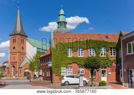 Haren, Germany - May 09, 2020: Central Street With Emsland Dom Church In Haren, Germany