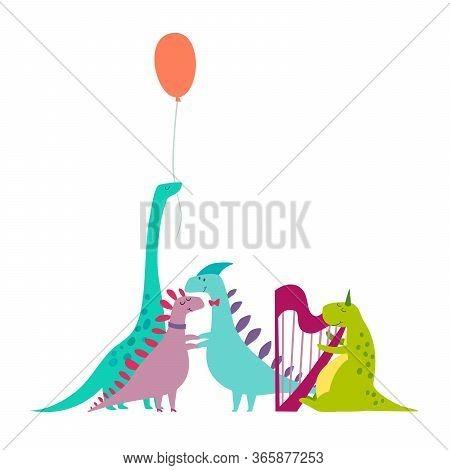 Dinosaurus Party Doodle Hand Drawn Vector Illustration. Cute Dinos Illustrations Set. Happy T-rex Ch