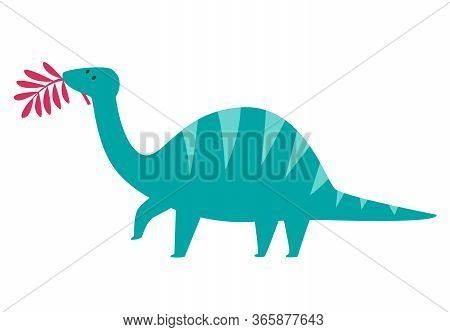 Cute Herbivorous Dinosaur With Leaf Vector Illustration. T-rex Cartoon Doodle Print Isolated On Whit