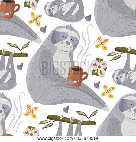 Cute Sloth Drinking Tea Or Coffee. Cartoon Vector Seamless Pattern In A Flat Style. Slow Lazy Animal
