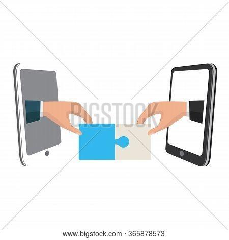 Vector Business Partnership Illustration. Handshake. Symbol Of Success Deal, Happy Business Partners