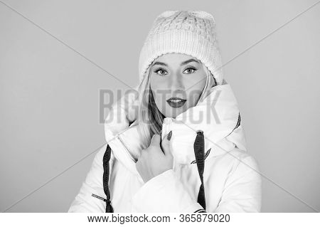 Perfect Design. Woman In Padded Warm Coat. Happy Winter Holidays. New Year. Girl In Beanie Hat. Faux