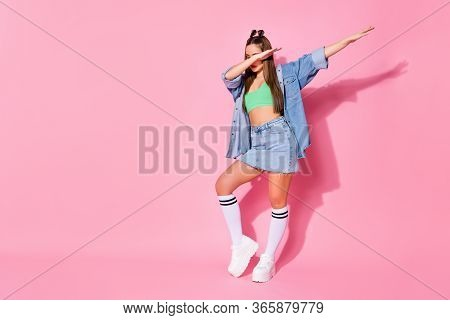 Full Length Photo Of Music Lover Girl Enjoy Dab Dancer Perform Stage Dance Wear Green Denim Clothes