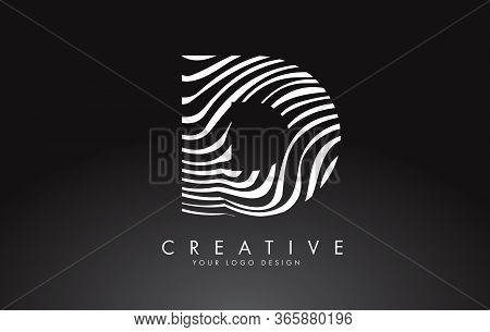 D Letter Logo Design With Fingerprint, Black And White Wood Or Zebra Texture On A Black Background.