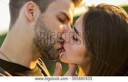 Eternal Love. Romantic Date. Sensual Kiss Of Two Lovers. People In Relationship Relax Together. Enjo