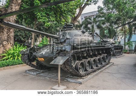 American Tank At The Ho Chi Minh City War Museum. Ho Chi Minh, Vietnam - March 19, 2020