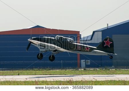 August 30, 2019. Zhukovsky, Russia. Soviet Attack Aircraft Of The Second World War Ilyushin Il-2 At