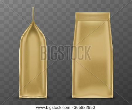 Golden Doy Pack, Pouch Paper Or Foil Bag Side And Front View. Sachet With Clip Isolated On Transpare
