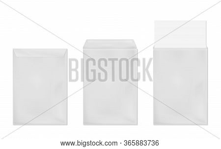 White Envelope A4 Template. Vector Realistic Mockup Of Blank Closed And Open Envelopes, Vertical Let