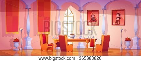 Dining Room Interior In Royal Castle With Feast Table, Candles And Portraits Of King And Queen On Wa