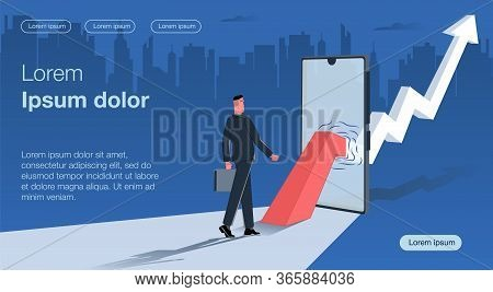 Stylistics In Dark Colors. A Businessman With A Case Goes In The Direction Of The Arrow Of An Upward