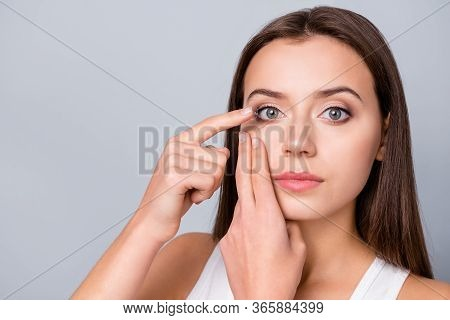 Close Up Photo Of Concentrated Girl Hold Small Transparent Contact Lens Insert Eye Want Look See Wat
