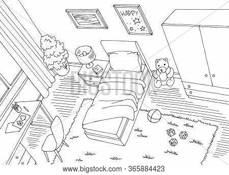 Children Room Top View From Above Graphic Black White Home Interior Sketch Illustration Vector