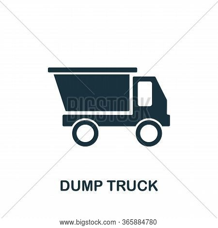 Dump Truck Icon From Industrial Collection. Simple Line Dump Truck Icon For Templates, Web Design An