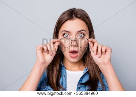 Close Up Photo Of Crazy Astonished Girl Touch Specs Cant Believe Discount Novelty Wear Casual Style