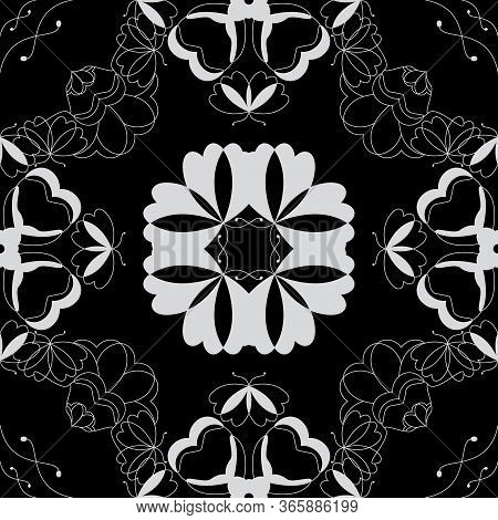 Seamless Pattern With Butterflies And Hearts. Color Black And White. Vector