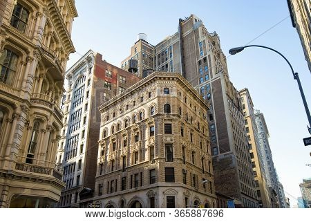 View Of Historic Buildings On Broadway In Downtown Of Manhattan In New York City Nyc