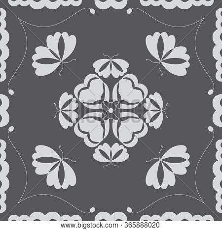 Seamless Pattern With Butterflies And Hearts. Color Grey And White. Vector.