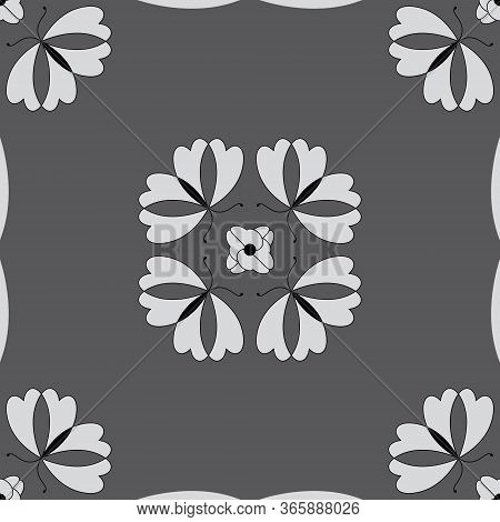 Seamless Pattern With Butterflies And Hearts. Color Grey, White And Black. Vector
