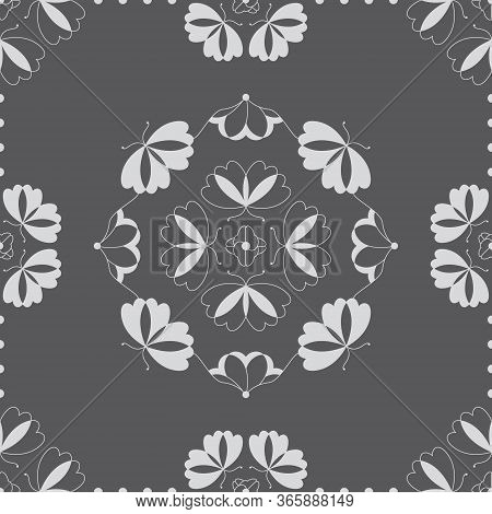 Seamless Pattern With Butterflies And Hearts. Color Grey And White. Vector