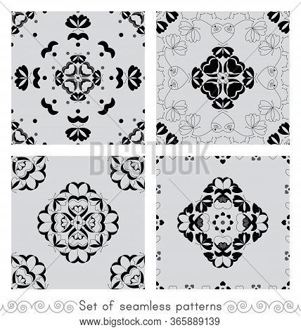 Set Of Seamless Patterns With Butterflies And Hearts. Light Grey Color And Black. Vector.