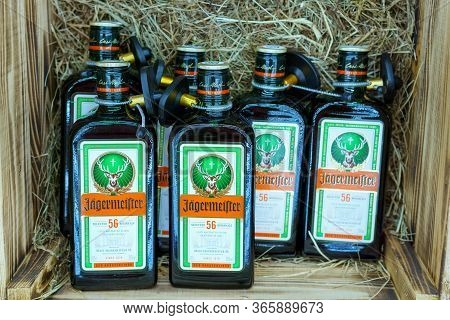 Tyumen, Russia-may 04, 2020: Jagermeister Is A Strong Alcoholic. Jagermeister Made With 56 Herbs And