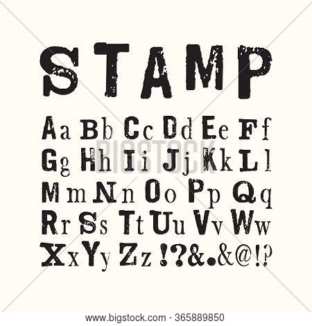 Vector Latin Stamp Font. Vector Stamp Abc With Grunge Texture.