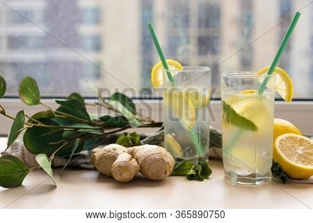 Two Glasses Of Ginger Lemonade On The Table, Useful For Immunity Ginger Lemonade
